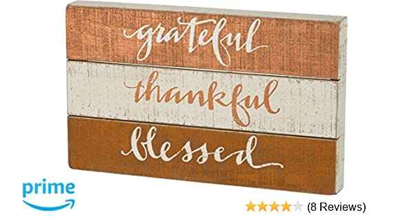 PRIMITIVE BY KATHY Slat Box Sign Blessed 12 x 5