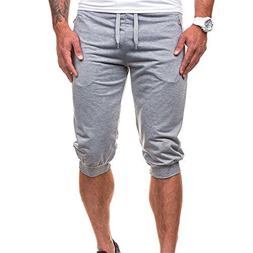 New Arrival ! BYEEE Men's Casual Elastic Waist Harem Training Jogger Sport Short Baggy Pants Zipper Trousers Sweatpants (2XL, Gray ()