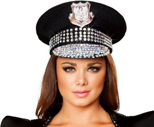 Roma Costume Studded Police Hat Costume, Black/Rhinestone, One Size (Genuine Rhinestone Sexy)