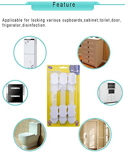 TZCare Child Safety Locks | No Tools | Baby & Child Proof Drawers, Cabinets, Oven, Toilet Seat, and More | Multi-Purpose Use | No Drilling Needed | Super Strong 3M Adhesive (6-Pack White)