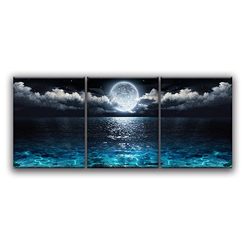 Moon Ocean Landscape Artwork Oil Painting on Canvas for Living Room
