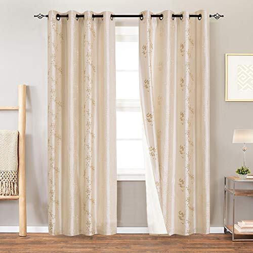 Embroidered Faux Silk Curtain - Lined Luxury Faux Silk Floral Embroidered Grommet Top Curtains for Bedroom 84 inches Long Embroidery Curtain for Living Room, 2 Panels, Light Golden