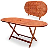 Wooden Garden table 'Alabama' - Foldable terrace table - FSC® certified - Folding table with umbrella holder