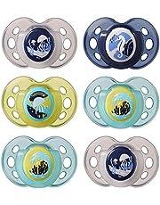 Tommee Tippee Night Time Glow in the Dark Dummy, symmetrisch orthopedisch ontwerp, BPA-vrije siliconen, 18-36m, Pack van 6 fopspenen