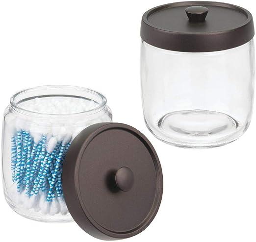 mDesign Juego de 2 algodoneros de cristal – Frasco para guardar ...