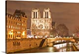 Premium Thick-Wrap Canvas Wall Art Print entitled Notre Dame de Paris cathedral at night.