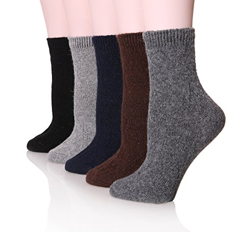 (Velice Women's Wool Warm Solid Color Winter Socks-5 Pairs(Solid color)