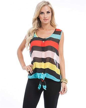 1030a400dcb MOD Plus Women s Rainbow Stripe Tie Plus Size Top Red XL(P5003) at ...