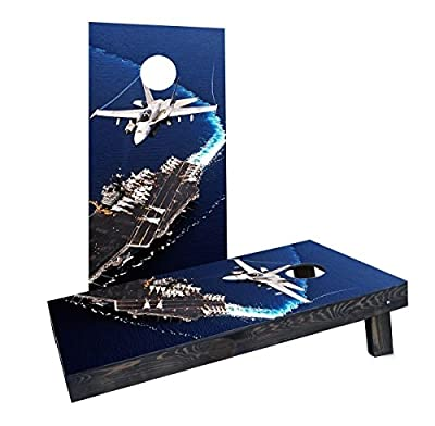 Custom Cornhole Boards Incorporated CCB179-AW Jet Flying Over Aircraft Carrier Cornhole Boards