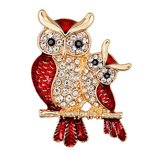 (856store Exquisite Brooches Fashion Enamel Owl Shape Rhinestones Embedded Brooch Pin Badge Banquet Jewelry)