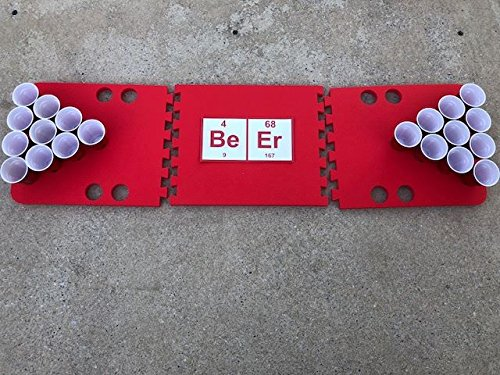 Red Beeriodic Foam Beer Pong Table - 6ft, Foam, All Weather, Portable - Floats Anywhere