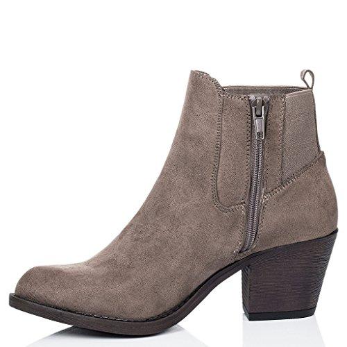 SPYLOVEBUY LONGSHENG Mujer Tacón Bloque Chelsea Boots Botines Marrón - Gamuza Sintética