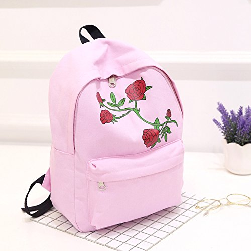 Pink Embroidery Chic Prosperveil Flower Canvas Preppy Backpack School Large Women Capacity avWc64W1q