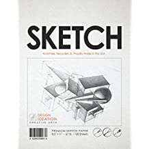 "Premium Sketch Paper for Pencil, Ink, Marker, Charcoal and Watercolor Paints. Great for Art, Design and Education. Loose Pack. (100 Sheets(8.5"" x 11""))"