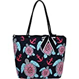 Sea Turtle Anchor Print Quilted Large Stripe Ribbon Tote Bag Review