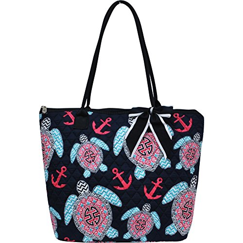 [Sea Turtle Anchor Print Quilted Large Stripe Ribbon Tote Bag] (Ribbon Tote)