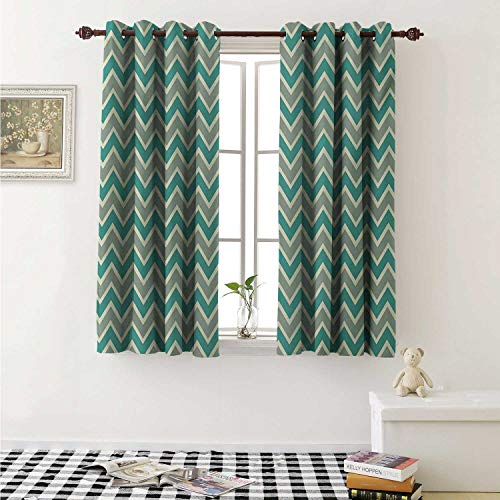 Chevron Customized Curtains Zigzag Stripes Pattern Angular Design Retro Design Inspirations Curtains for Kitchen Windows W63 x L45 Inch Pale Sage Green Teal and Beige