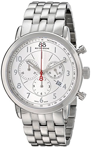 88-Rue-du-Rhone-Mens-87WA120044-Double-8-Analog-Display-Swiss-Quartz-Silver-Watch
