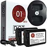 DOT-01 2x Brand Sony Alpha A5000 Batteries and Dual Slot USB Charger for Sony Alpha A5000 DSLR and Sony A5000 Battery and Charger Bundle for Sony FW50 NP-FW50