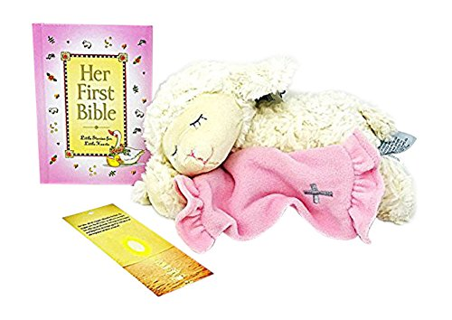 Baptism Gifts for Baby Girl - Her First Bible Book with Pink Plush Lamb that Recites Now I Lay Me Down to Sleep Makes Perfect Christening Gift - Bonus Kid's Lord's Prayer Bookmark (Her First Bible) -