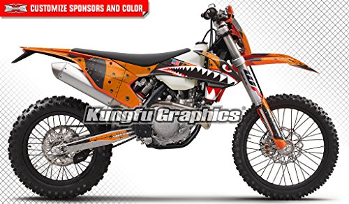 Ktm 250 Exc Race (Kungfu Graphics Shark Style Custom Decal Kit for 125 150 250 300 350 450 500 EXC EXC-F XCW XC-W 2017 2018, Orange)