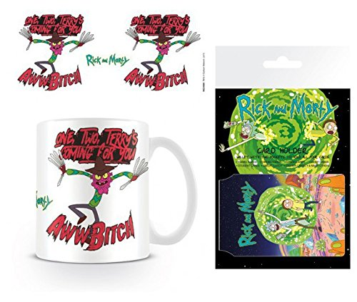 Set: Rick and Morty, Scary Terry, One, Two, Terry's Coming for You Photo Coffee Mug (4x3 inches) and 1 Rick and Morty, Credit Card Holder Wallet for Fans Collectible (4x3 inches) (Rick And Morty Nightmare On Elm Street)