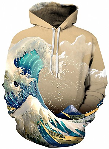 Ezcosplay Costumes (Plus Size Autumn Winter 3D Print Women Hoodies Tiger Print Coat With Pocket Digital Print Hooded Pullovers Champagne XXXL)