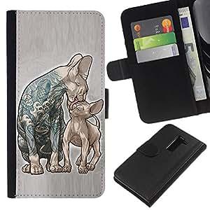 Be-Star la tarjeta de Crédito Slots PU Funda de cuero Monedero caso cubierta de piel Para LG G2 D800 ( Cats Mother Kitten Love Ink Tattoo Blue )