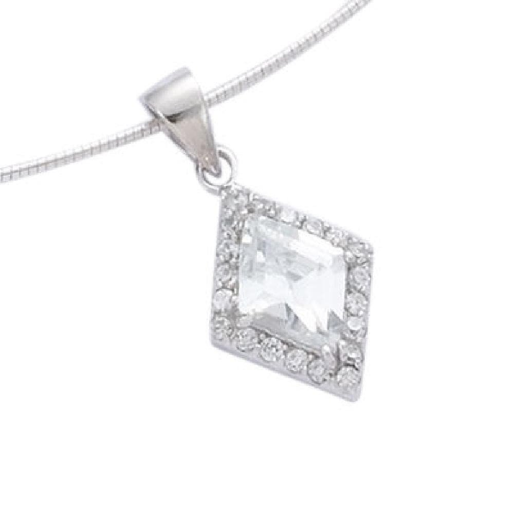 So Chic Jewels 925 Sterling Silver Clear Cubic Zirconia Rhombus Pendant Sold alone: chain not included