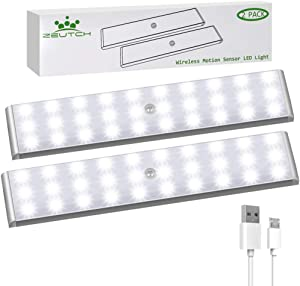 Homelife LED Bars Motion Sensor Lights, 30 LED Under Cabinet Lighting, Wireless Rechargeable LED Strip Lights Indoor with Large Battery for Stairs,Wardrobe,Kitchen,Hallway (2 Packs)