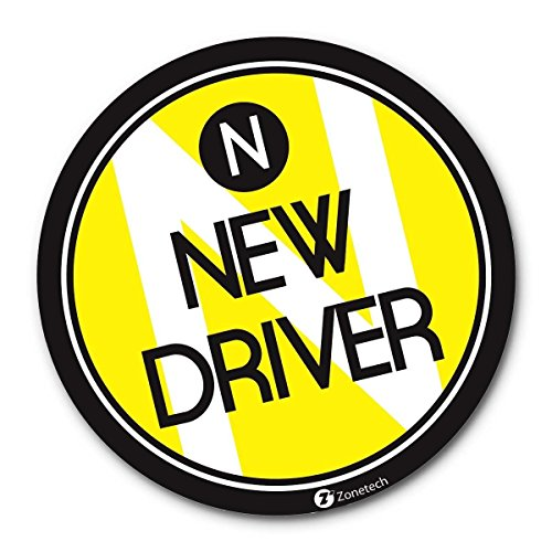 Young Driver - Zone Tech New Driver Vehicle Bumper Round Magnet - Premium Quality Reflective New Driver Bumper Safety Sign Round Magnet