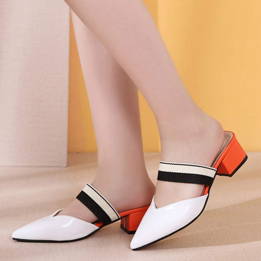 Mysky Fashion Women Casual England Mixed Colors Pointed Square Heel Shoes Ladies Brief Wild Slipper