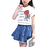 Luodemiss Girls Big Kids Denim 2PCS Pleated Jeans Skirt and Cotton Top Flower T-Shirt