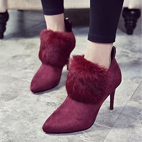 Heel Spring Feather Shoes Dress Leatherette Boots ZHZNVX Boots HSXZ Ankle Pointed Fashion Casual Bootie Boots Winter for Stiletto Women's Toe Burgundy Booties TXqSPSxRwA