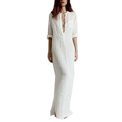 Amazon.com : Snowfoller Ladies Casual Maxi Long Sleeve Deep V-Neck ...