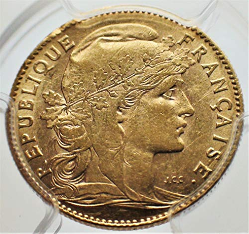 1900 FR France European Authenticated Antique Old Gold Coin French Coins 10 Francs AU55 PCGS