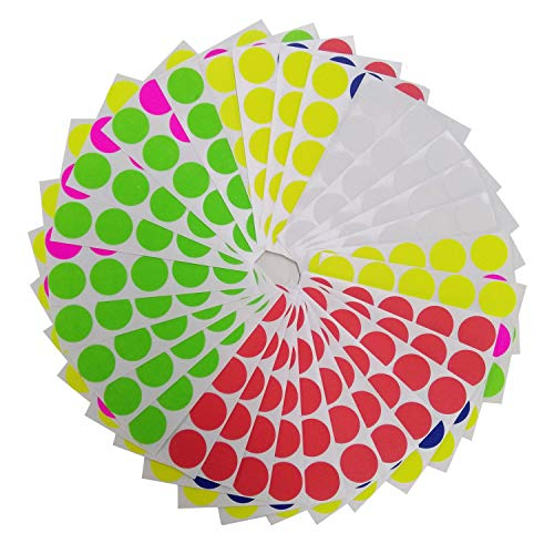 Brothersbox Round Write Color Coding Labels Neon Colors, Dia 0.75 Inches, Pack of 1575, Garage Sales Stickers (Best Garage Sale Items)