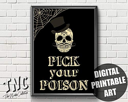 Saisong Halloween Decoration Printable Halloween Candy Sign Pick Your Poison Halloween Bar Art Halloween Poster Halloween Drink Sign Framed Wall Art