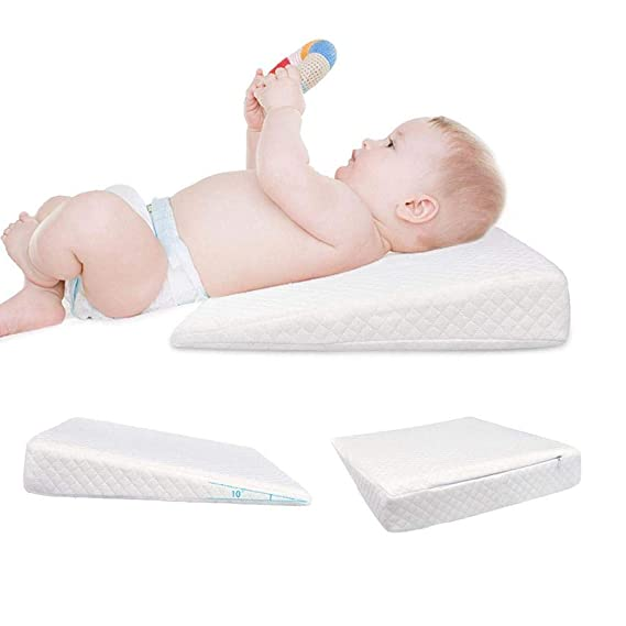 Crib Wedge for Baby Nursing Memory Foam Baby Sleeping Wedge Pillow Infant Sleep Pillow with Removal Waterproof Cotton Cover(White)