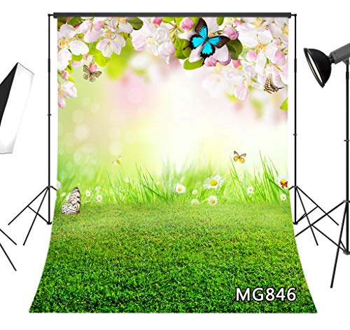 LB Spring Pink Flower Backdrop 6x9FT Fabric Green Grass Blue Butterfly Photo Background for Wedding Easter Party Decoration Kids Children Adult Portrait Photo Shoot Studio Props, Washable