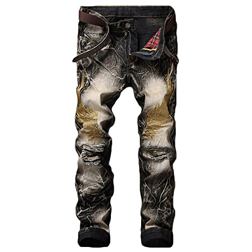 (WEEN CHARM Mens Distressed Ripped Biker Slim Fit Stragiht Tapered Leg Black Grey Jeans Moto Retro Denim Pants )