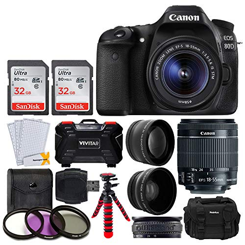 "Canon EOS 80D Digital SLR Camera Body (Black) + EF-S 18-55mm f/3.5-5.6 IS STM Lens + 64GB Memory Card + 58mm 2X Telephoto & Wide Angle Lens + 3 Piece Filter Kit + 12"" Flexible Tripod + Photo4Less Case]()"