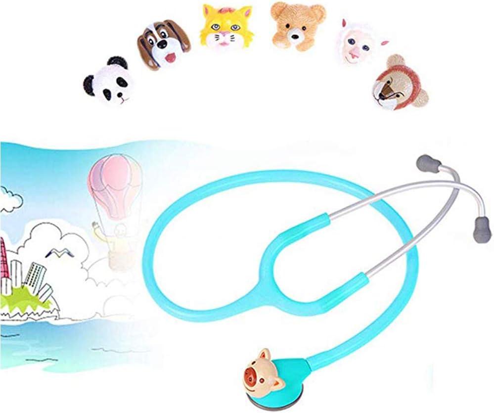 WSN Estetoscopio de Doble Cabeza Estetoscopio pediátrico, médico único Ultraligero para monitorización cardíaca de Primeros Auxilios con 6 Cabezas de Animales,Azul