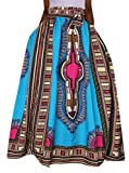 Oberora Womens Vintage Africa Print High Waist Loose Dashiki Pleated Skirts 1 S