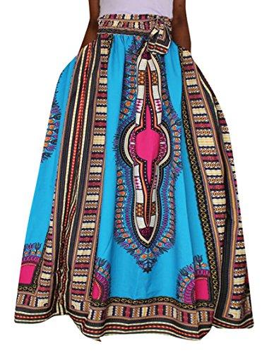 Oberora Womens Vintage Africa Print High Waist Loose Dashiki Pleated Skirts 1 S by Oberora-Women