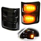iJDMTOY (2) Smoked Lens LED Side Mirror Marker Lights Set For 2008-2016 Ford F-250 F-350 F-450 F-550 Super Duty
