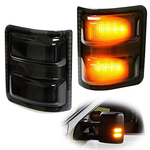 iJDMTOY (2) Smoked Lens Amber LED Side Mirror Marker Lamps For 2008-16 Ford F250 F350 F450 Super Duty