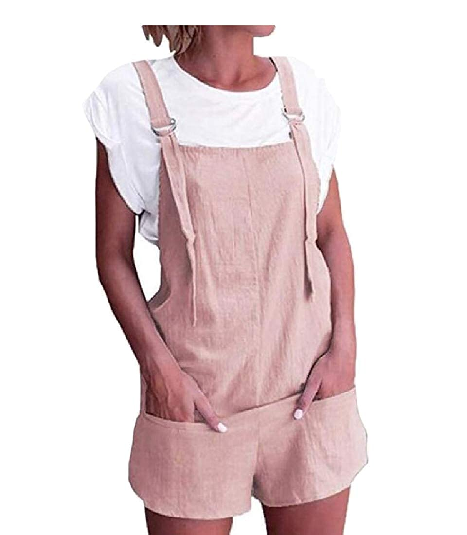 Hajotrawa Womens All-Match Solid Trousers Summer Shorts Pocket Overalls