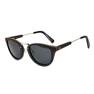 WOLA Damen Herren Sonnenbrille Holz FEU Brille rund mit Metallrahmen polarisiert UV400 Nussholz Unisex Damen M - Herren S tS5kJg