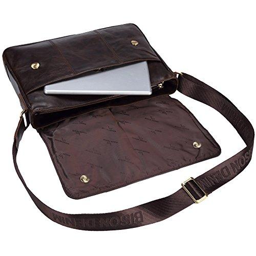 Mens Bison l brown Messenger Shoulder Genuine W2458 Bag Leather Casual Denim Cowhide gwqUw5Zx